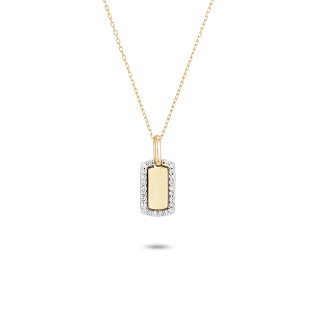 Adina - Tiny Pave Dog Tag Necklace Y14