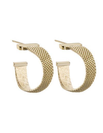 Jennifer Zeuner - Josefina Small Mesh Hoop Earrings in Yellow Gold Plated Silver