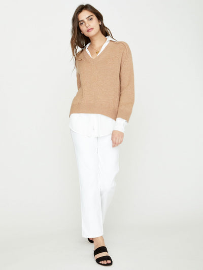 BROCHU WALKER - V-Neck Layered Pullover Camel w/ White