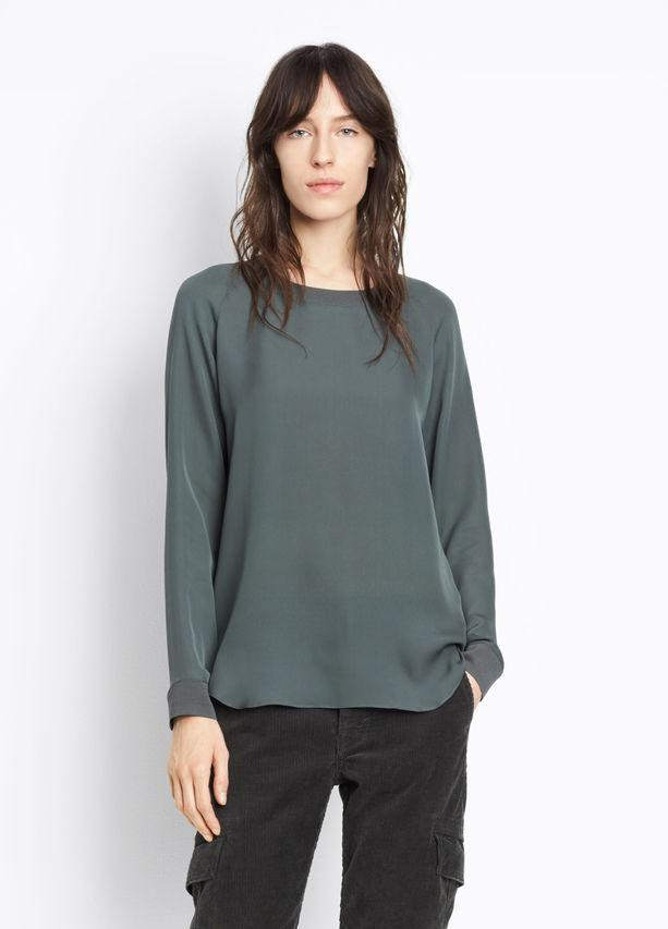 Vince - Ribbed Trim Blouse