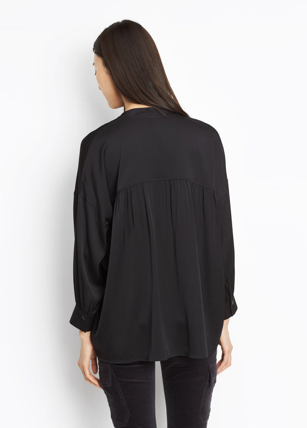 VINCE - Shirred Drape Pullover Blouse - Frog