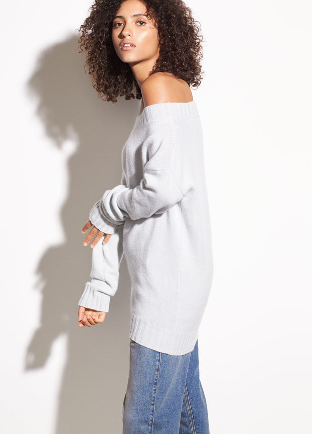 Vince - Off-the-Shoulder Wool and Cashmere Sweater in Sea