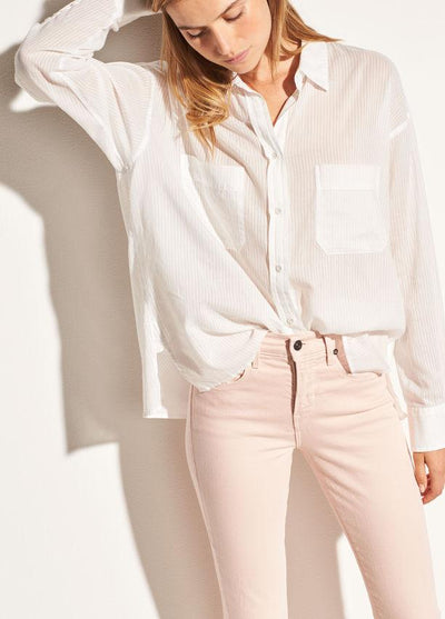 Vince - Textured Double Pocket Blouse in Off White