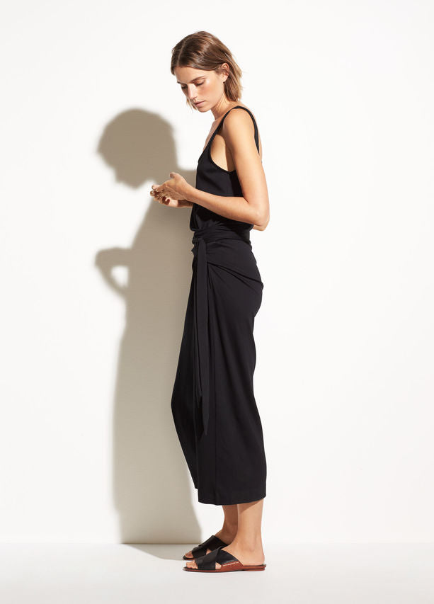 VINCE - Sleeveless Wrap Dress in Black