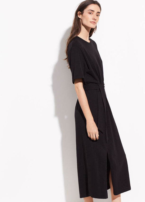 VINCE - Short Sleeve Wrap Dress in Black