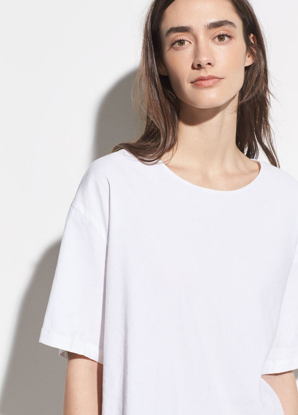 VINCE - Linen Tee in Optic White