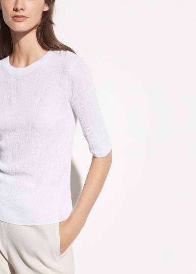 VINCE - Broomstick Pleat Elbow Sleeve in Optic White