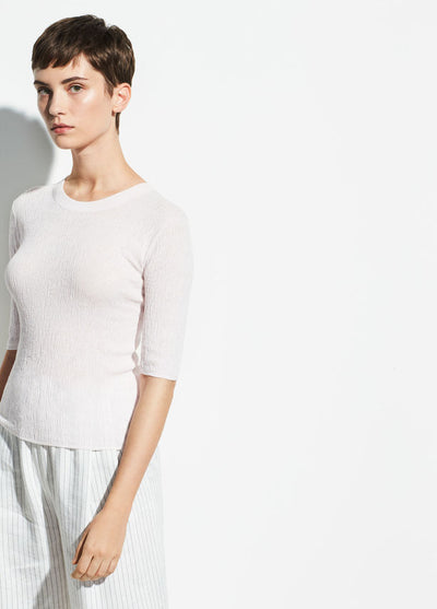 VINCE - Broomstick Pleat Elbow Sleeve in Peony