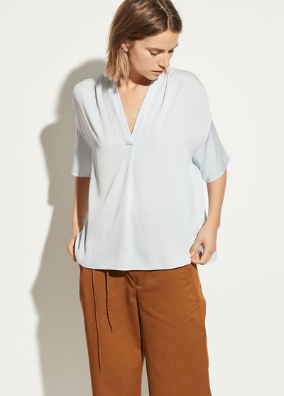Vince - Shirred V-Neck Blouse Powder Blue