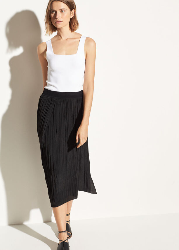Vince - Crinkle Pleated Skirt Black