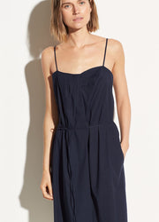 VINCE - Linen Drape Neck Dress in Marine