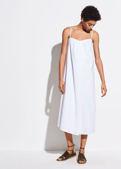 VINCE - Linen Drape Neck Dress in Optic White