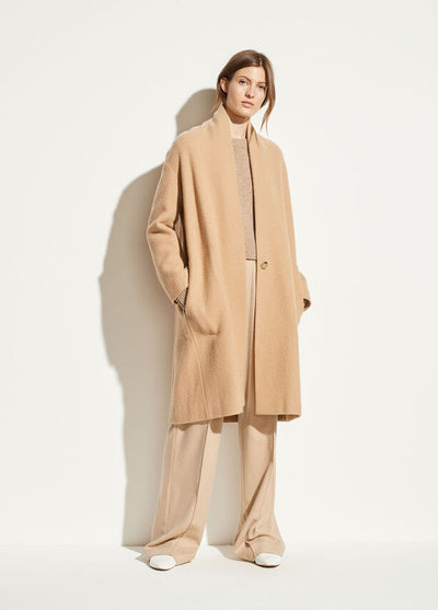 Vince - Collarless Coat in Limestone