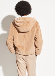 VINCE - Plush Hoodie in Sand Dollar