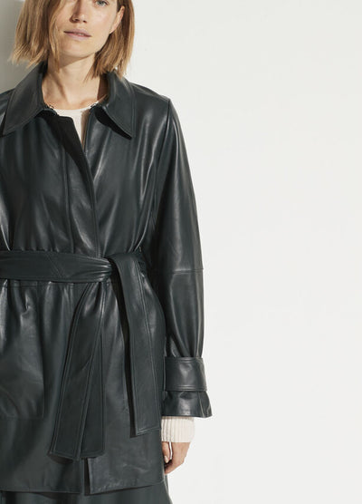 Vince - Leather Trench in Dark Watercress