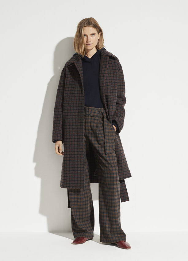 VINCE - Belted Plaid Wide Leg in Mahogany Plaid