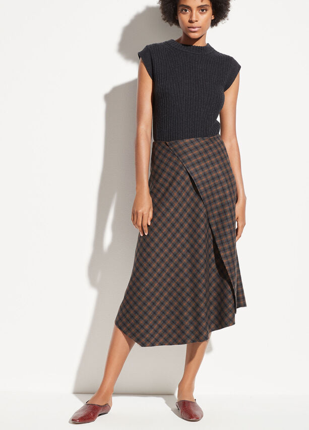 VINCE - Check Plaid Drape Skirt in Mahogany