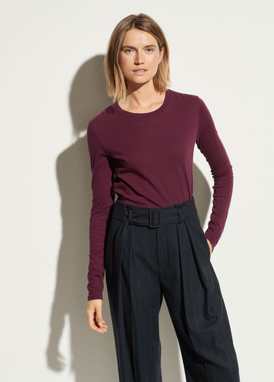 VINCE - Essential Long Sleeve Crew in Plum