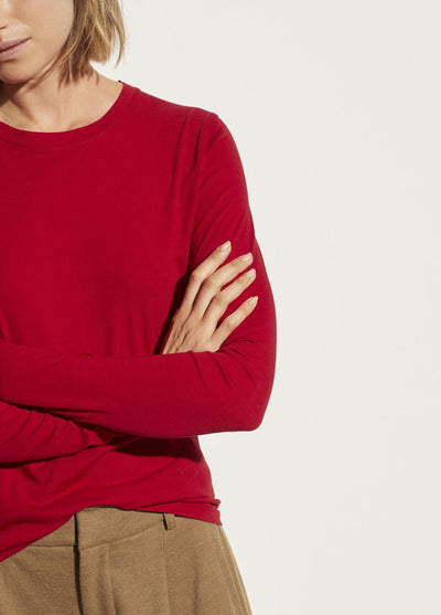 VINCE - Essential Long Sleeve Crew in Cherry Rust