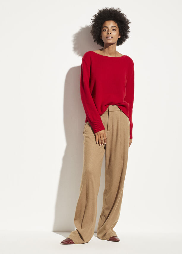 Vince - Boatneck Pullover Sweater in Cherry Rust