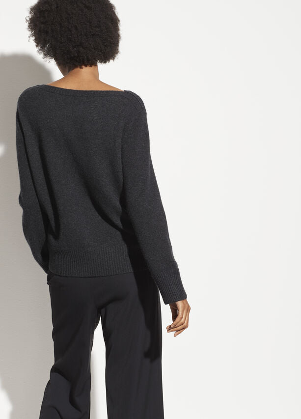 Vince - Boatneck Pullover Sweater in Charcoal