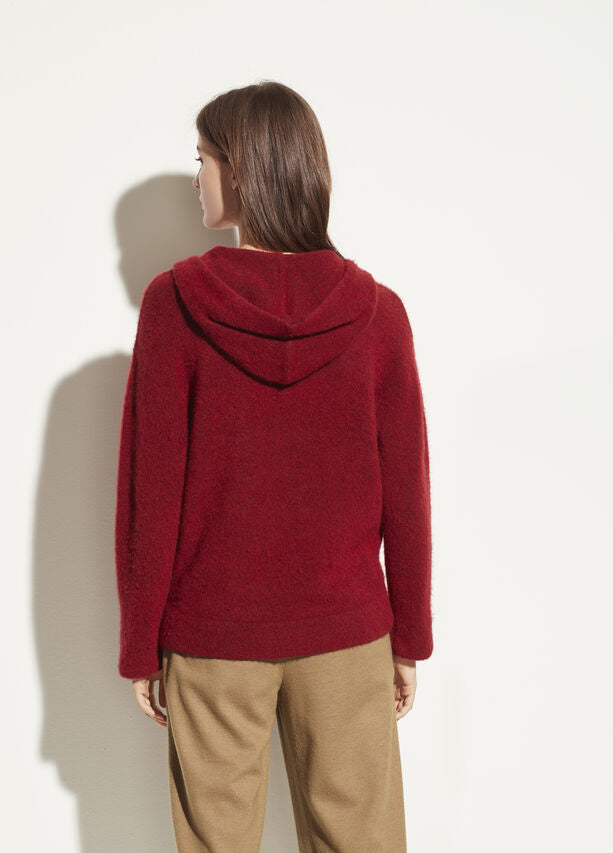 VINCE - Oversized Pocket Hoodie in Cherry