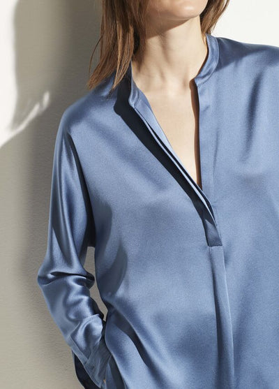 VINCE - Band Collar Satin Blouse in Azurite