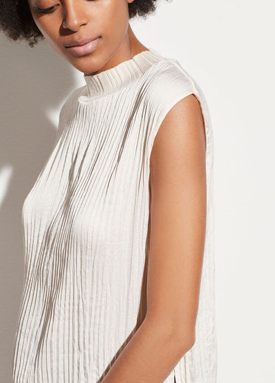 VINCE - Variegated Rib Shell Top in Chiffon