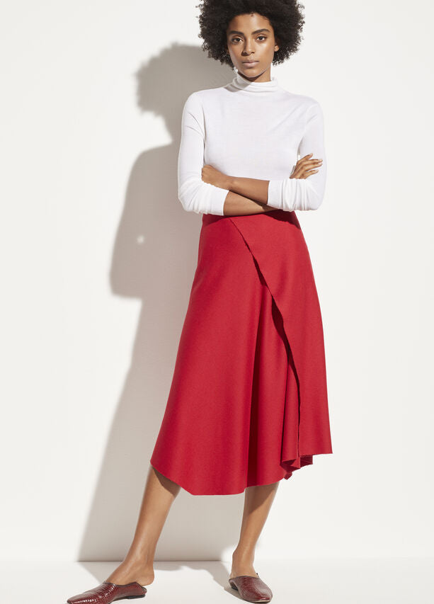 Vince - Asymmetric Drape Skirt in Crimson