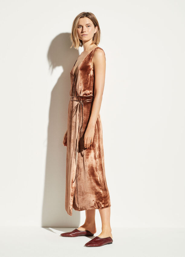 Vince - Panné Wrap Dress in Rose Gold