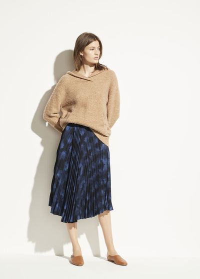 VINCE - Winter Tie Dye Pleated Skirt in Hydra