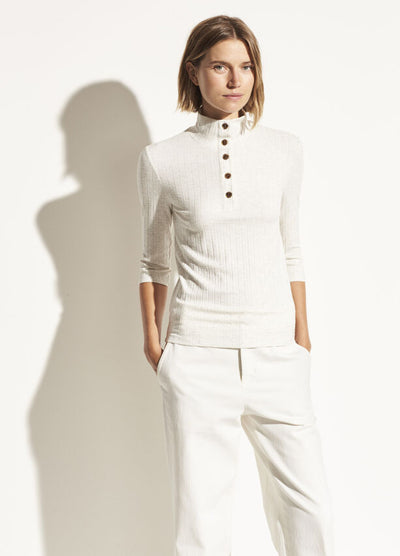 Vince - Button Up Elbow Sleeve Top in Off White