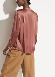 Vince - Slim Fitted Band Collar Blouse in Rosewood