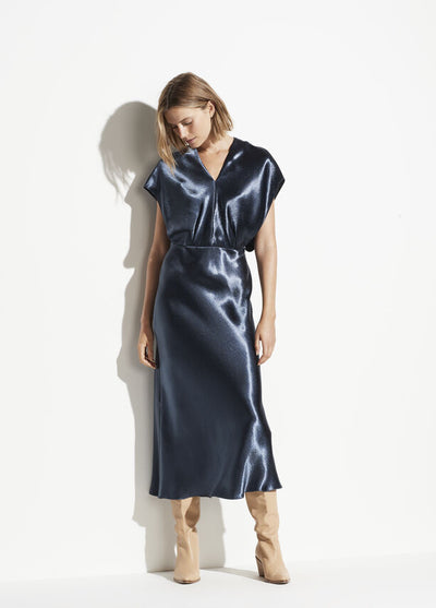 Vince - Metallic Flutter Dress in Casa Blue