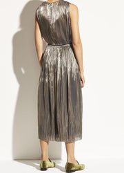 Vince - Iridescent Pleated Culotte in Moonstone