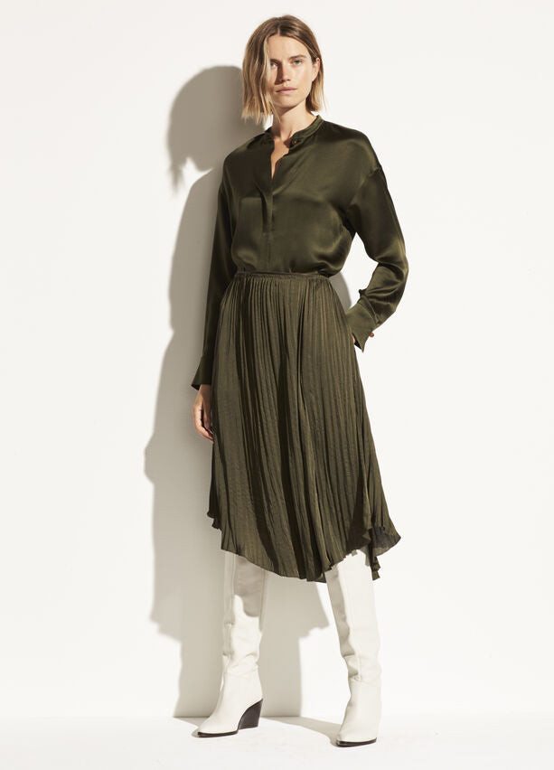 Vince - Crushed Drape Skirt in Mineral Pine