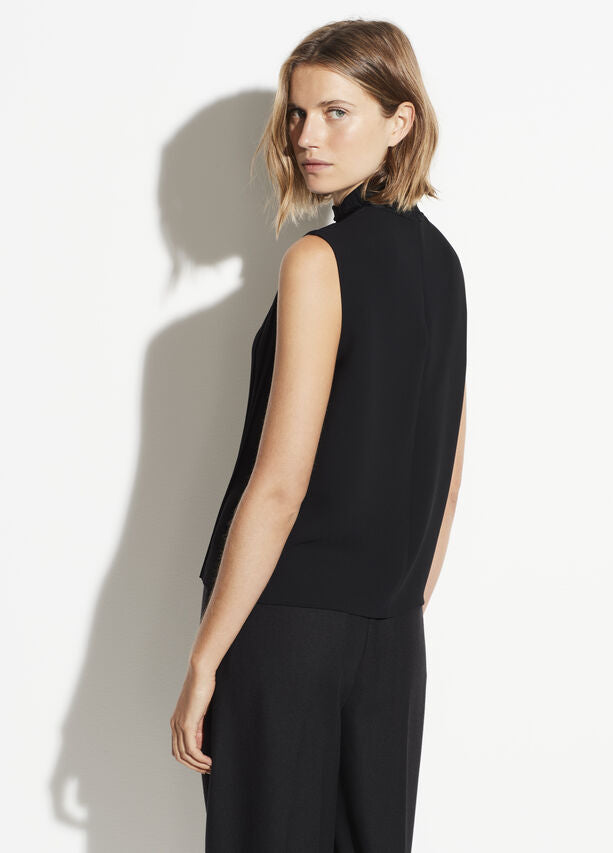 Vince - Mixed Rib Sleeveless Turtleneck in Black