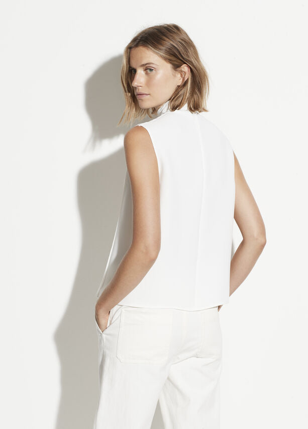 Vince - Mixed Rib Sleeveless Turtleneck in Off White