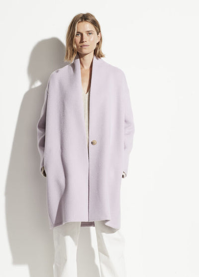 Vince - Collarless Coat in Lily Stone
