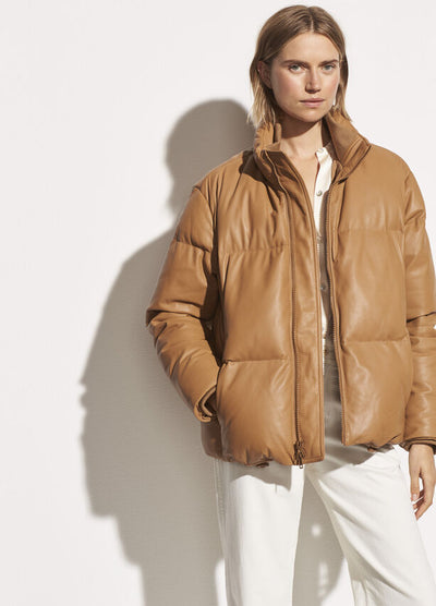 Vince - Leather Puffer in Dark Camel