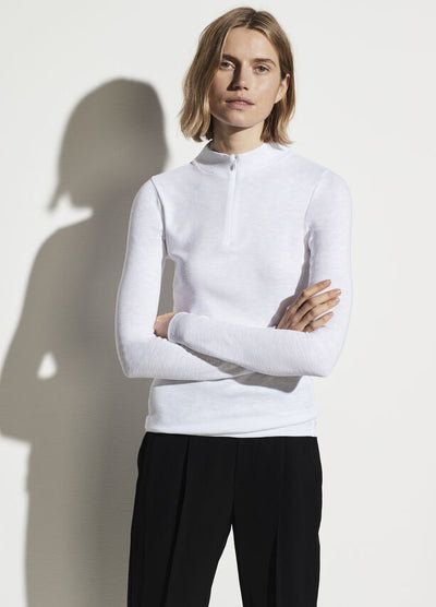 Vince - L/S Half Zip Mock Neck Pullover in Optic White