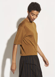Vince - Wide Sleeve Crop Tee in Pecan