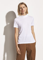 Vince - S/S Mock Neck Tee in Optic White