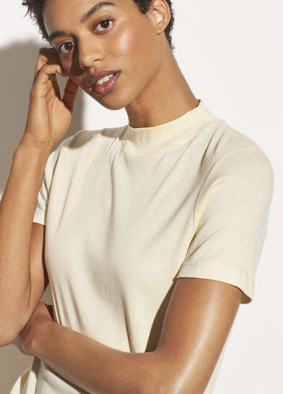 Vince - Short Sleeve Mock Neck Tee in Sun Creme