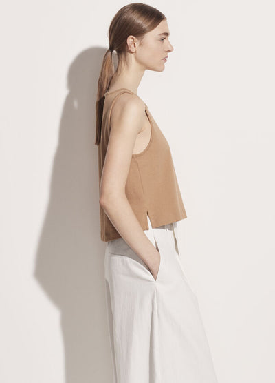 Vince - Cropped Swing Tank in Dune