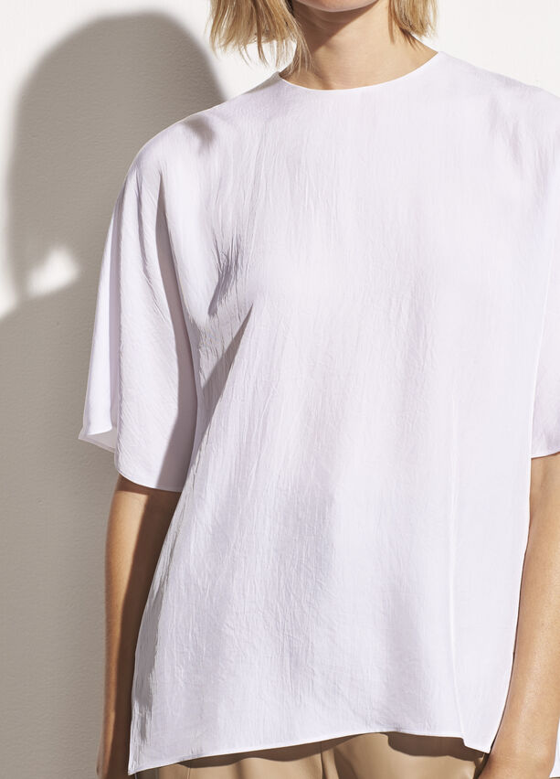 Vince - Drape Twill T-Shirt in Off White
