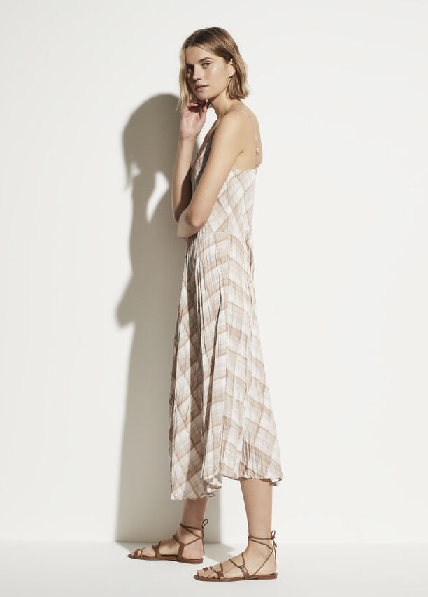 Vince - Hazy Plaid Cami Dress in Sun Taupe