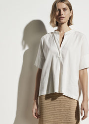 Vince - S/S Linen Popover in Optic White