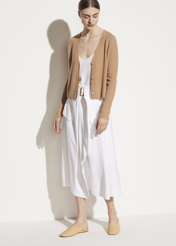 Vince - Ribbed Raglan Cardigan in Light Dune