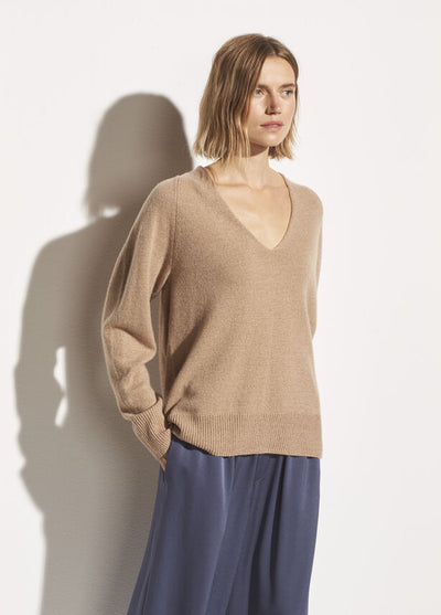 Vince - Marled V Neck Sweater in Dune